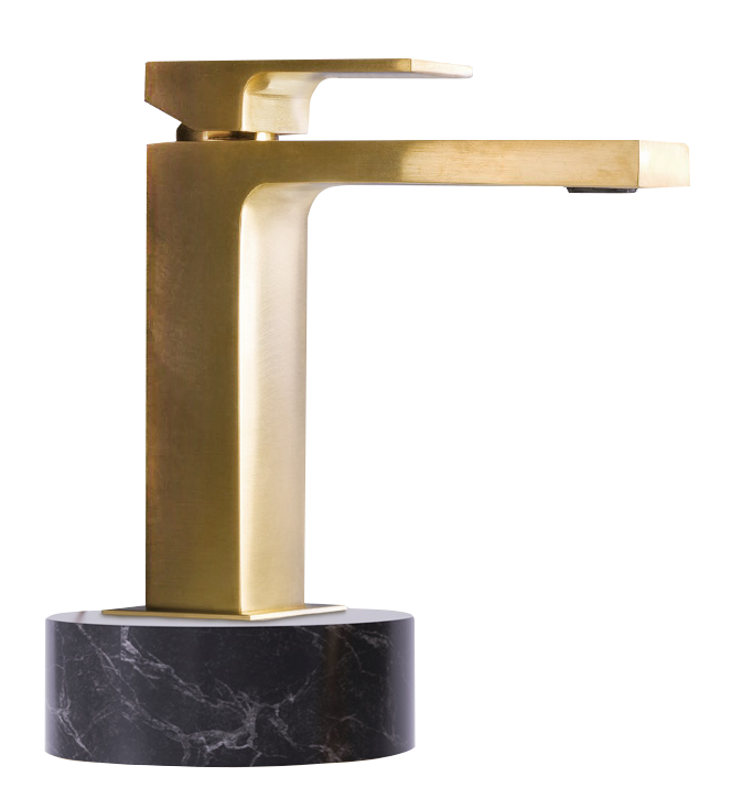 gold tap on marble
